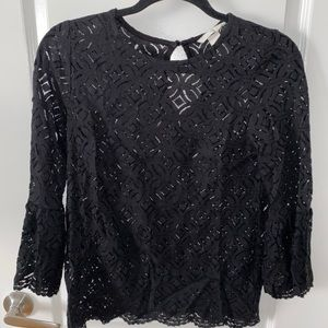 Black lace top with peplum sleeves